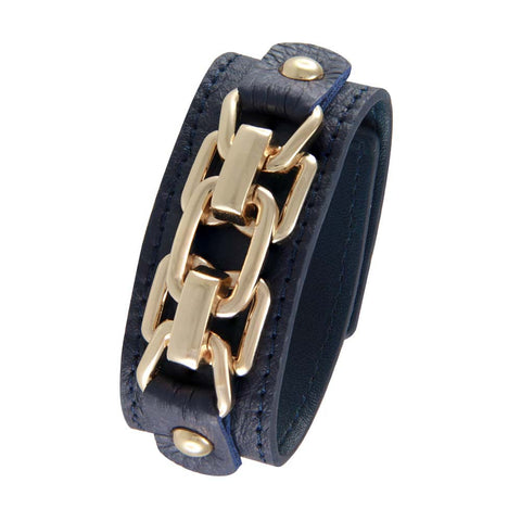 18K YG Plated  Blue Leather Chain Link Design Snap Bracelet