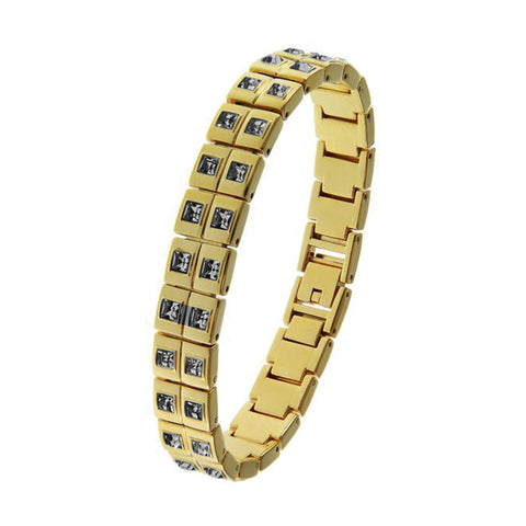 18K YG and Rhodium Plated 3 Crystal Pearl Leather Thick Link Snap Bracelet