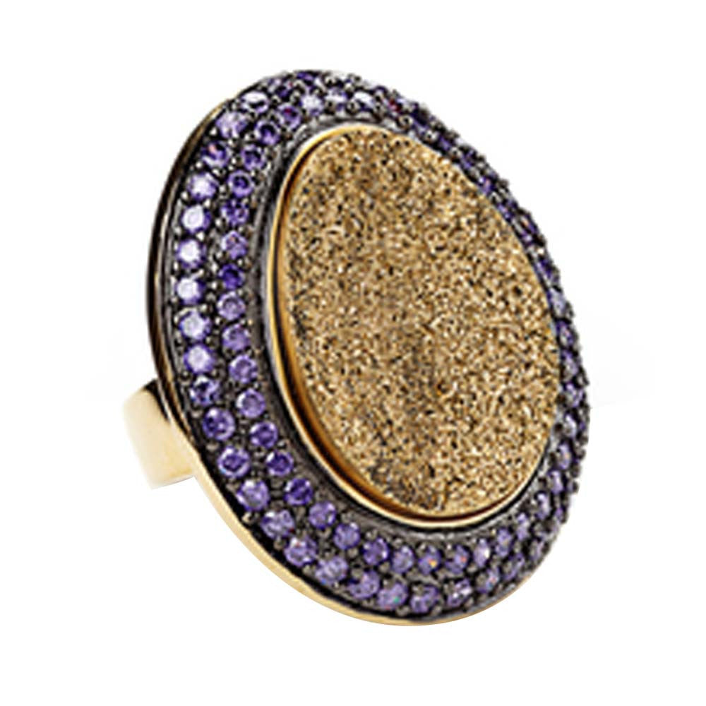 18K YG Plated, Gold Drusy And Amethyst Cz Cocktail Ring