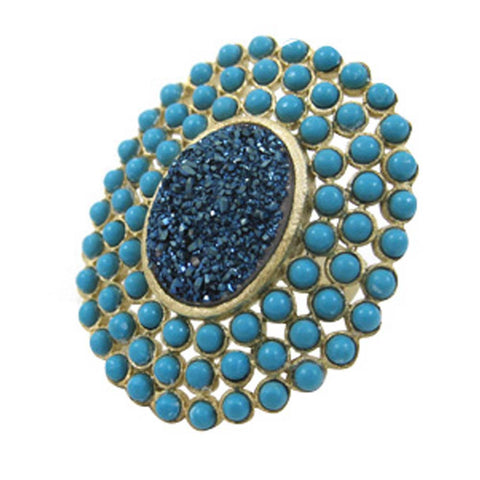 18K YG Plated, Blue Drusy And Turquoise Statement Ring