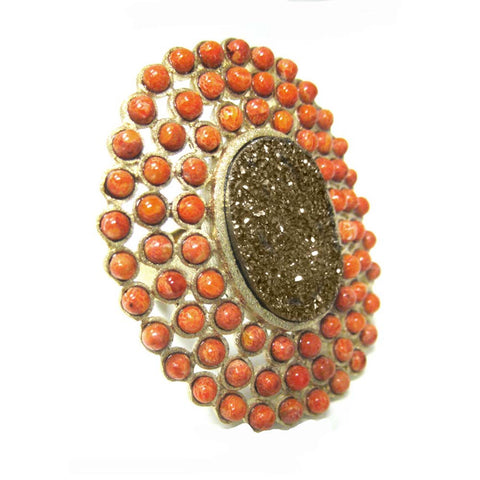 18K YG Plated, Gold Drusy And Sponge Coral Statement Ring