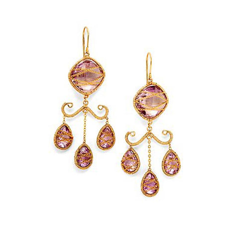 14K Goldfilled, Chandelier Amethyst Earrings
