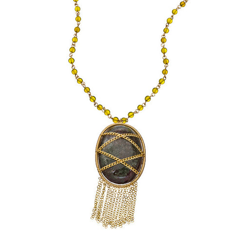 14K Goldfilled, Chain Wrapped Smokey Quartz And Carnelian Beaded Tassle Pendant Necklace