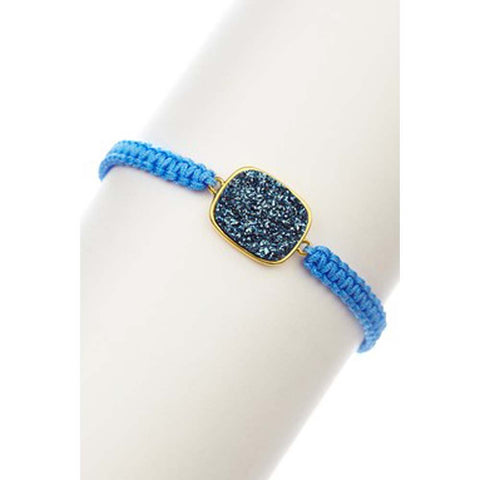 18K YG Plated, Blue Leather Button Snap Rider's Cuff Bracelet