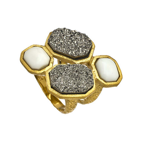 """Deco Starburst"" Ivory Ring"