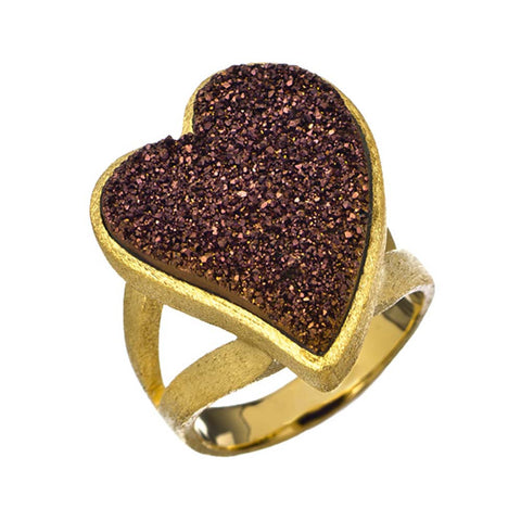 18K YG Plated, Bronze Drusy Heart Ring