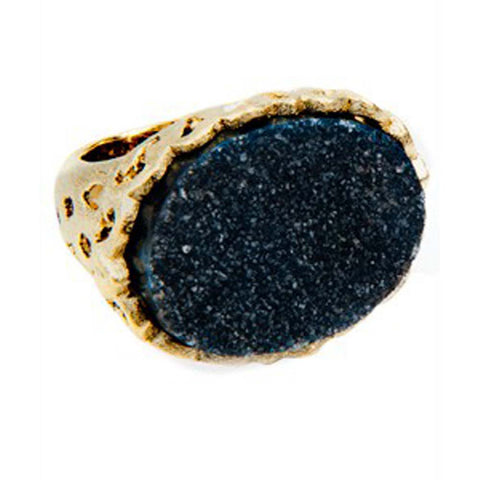 18K YG Plated, Smoke Topaz Crystal and Blue Drusy Triplet Ring