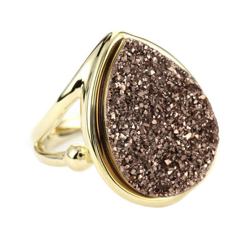 18K YG Plated, Bronze Titanium Drusy Teardrop Ring