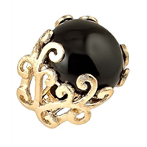 18K YG Plated Bold Black Agate Ring
