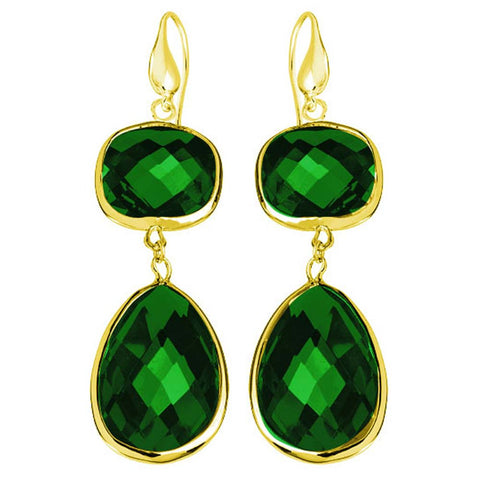 18K YG Plated, Faceted Emerald Green Crystal Angelina Earrings