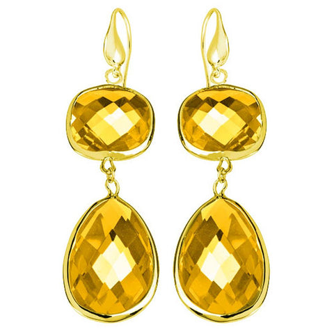 18K YG Plated, Faceted Topaz Crystal Angelina Earrings