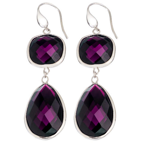 Rhodium Plated, Faceted Amethyst Crystal Angelina Earrings