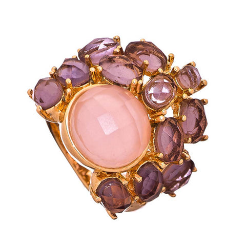 18K Rose Gold Plated Amethyst and Rose Crystal Fragmented Ring