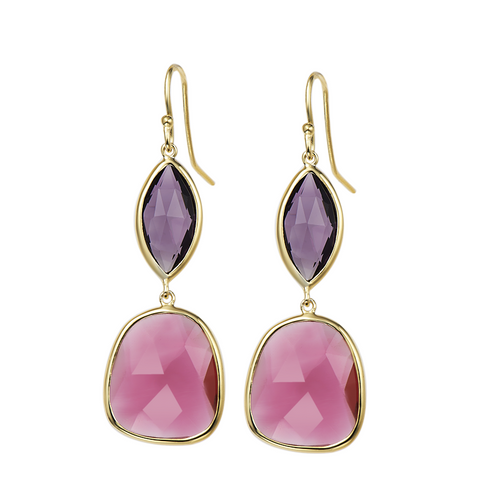 14K YG Plated Faceted Amethyst And Fuchsia Glass Double Drop Earrings