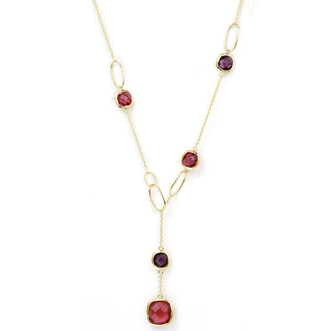 "14K YG Plated Brass Fuchsia Glass And Amethyst ""Y""  Necklace"