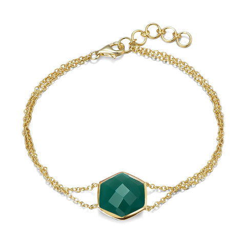 14K YG Plated, Octagonal Faceted Green Onyx Bracelet