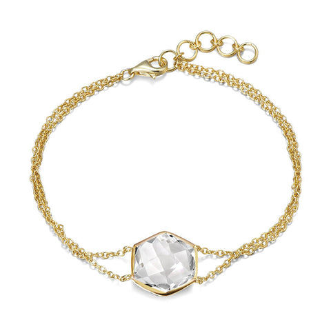 14K YG Plated Octagonal Faceted Crystal Quartz Bracelet