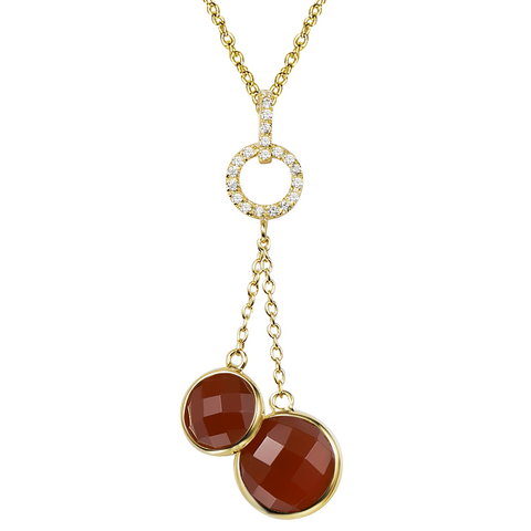 14K YG Plated  Round  Faceted Carnelian and CZ Duet Necklace