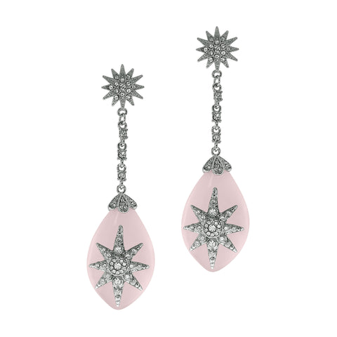 """Deco Starburst"" Pink Ice Earrings"