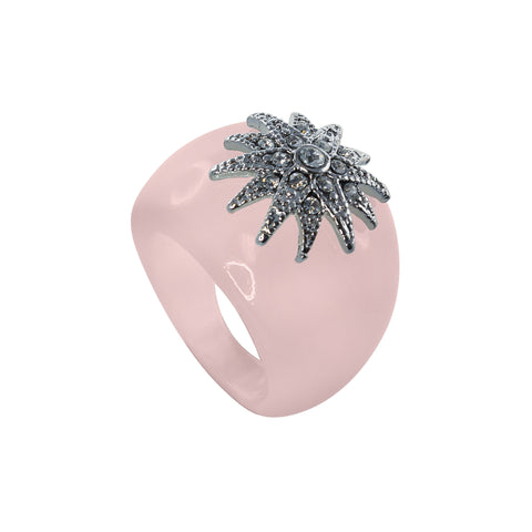 """Deco Starburst"" Pink Ice Ring"