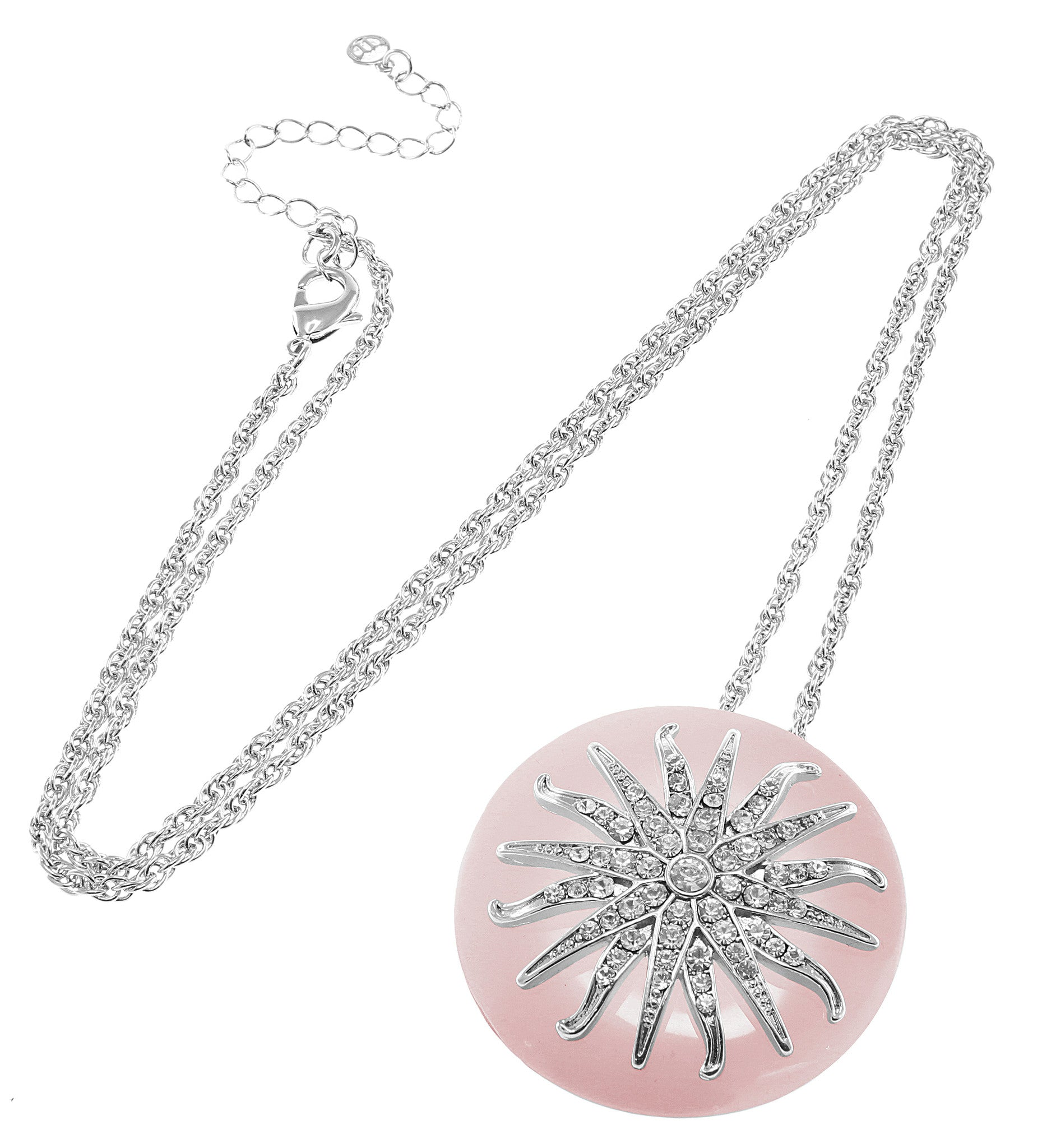 """Deco Starburst"" Pink Ice Necklace"