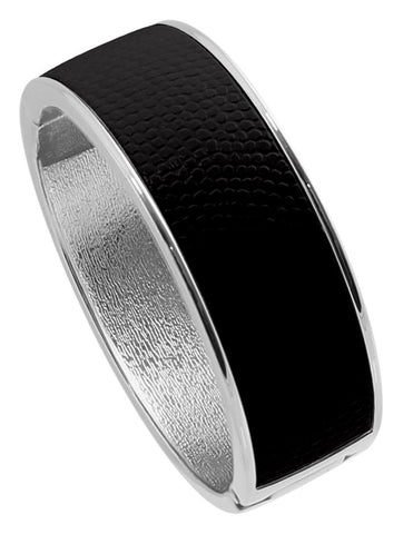 "Rhodium Plated  ""Cali"" Jet Black Faux Lizard Embossed Leather Hinged Bangle"