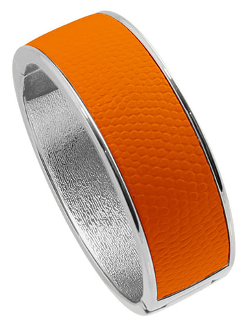 "Rhodium Plated  ""Cali"" Orange Faux Lizard Embossed Leather Hinged Bangle"