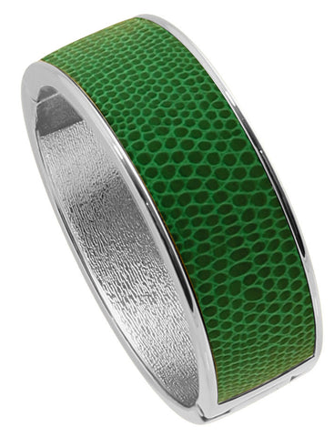 "Rhodium Plated  ""Cali"" Emerald Faux Lizard Embossed Leather Hinged Bangle"