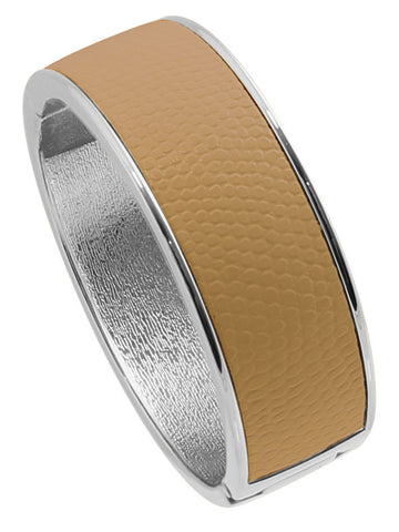 "Rhodium Plated  ""Cali"" Beige Faux Lizard Embossed Leather Hinged Bangle"