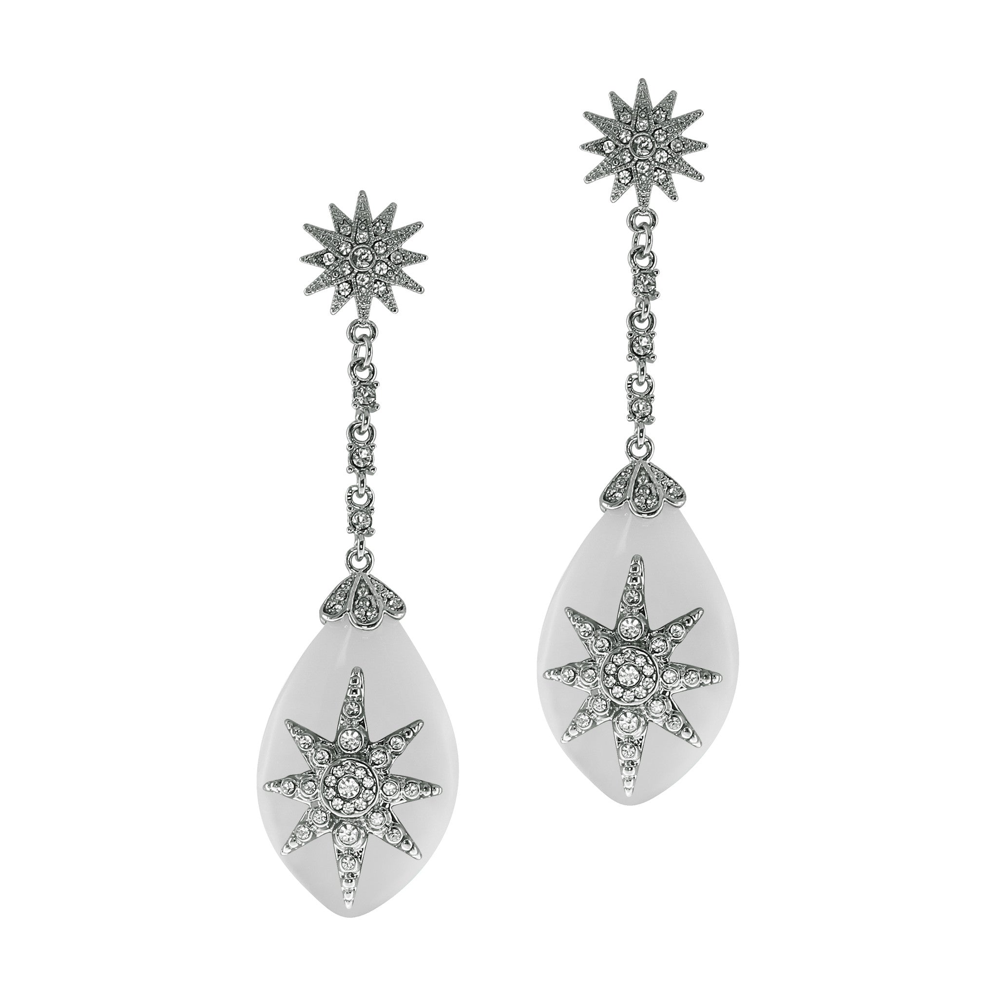 """Deco Starburst"" Ivory Earrings"