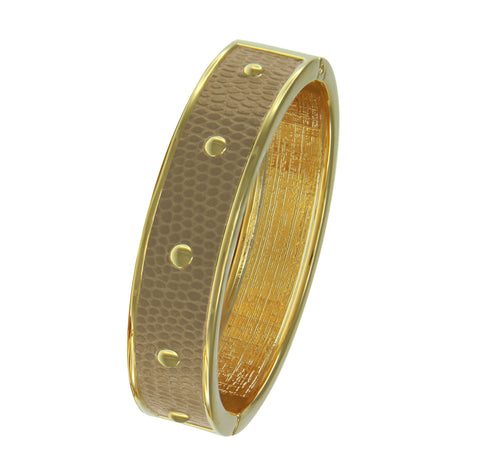 18K YG Plated  Circle Studs Tan Faux Lizard Embossed Leather Bangle