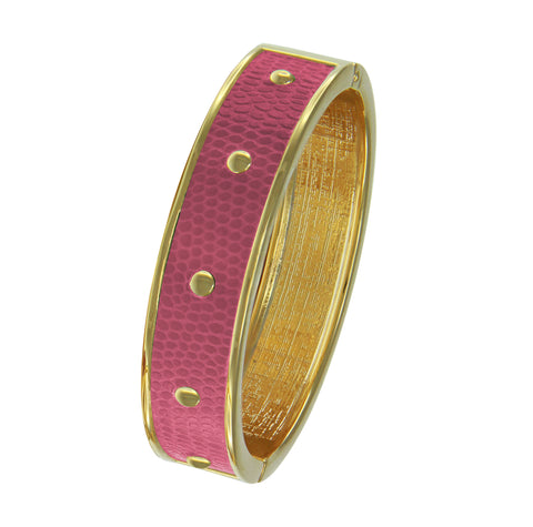 18K YG Plated  Circle Studs Fuchsia Faux Lizard Embossed Leather Bangle