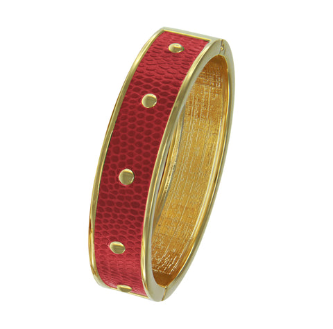 18K YG Plated  Circle Studs Red Faux Lizard Embossed Leather Bangle
