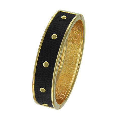 18K YG  Circle Studs Black Faux Lizard Embossed Leather Bangle