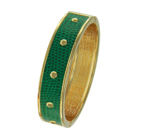 18K YG  Circle Studs Green Faux Lizard Embossed Leather Bangle