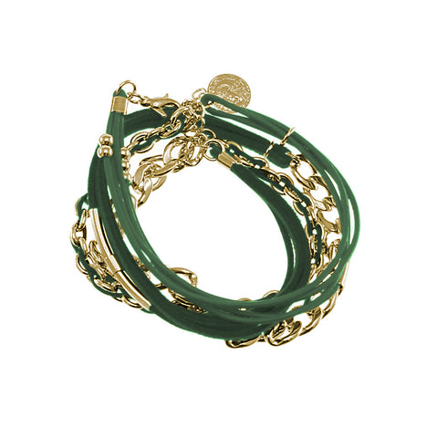 18K YG Plated  Green Swede and Chain