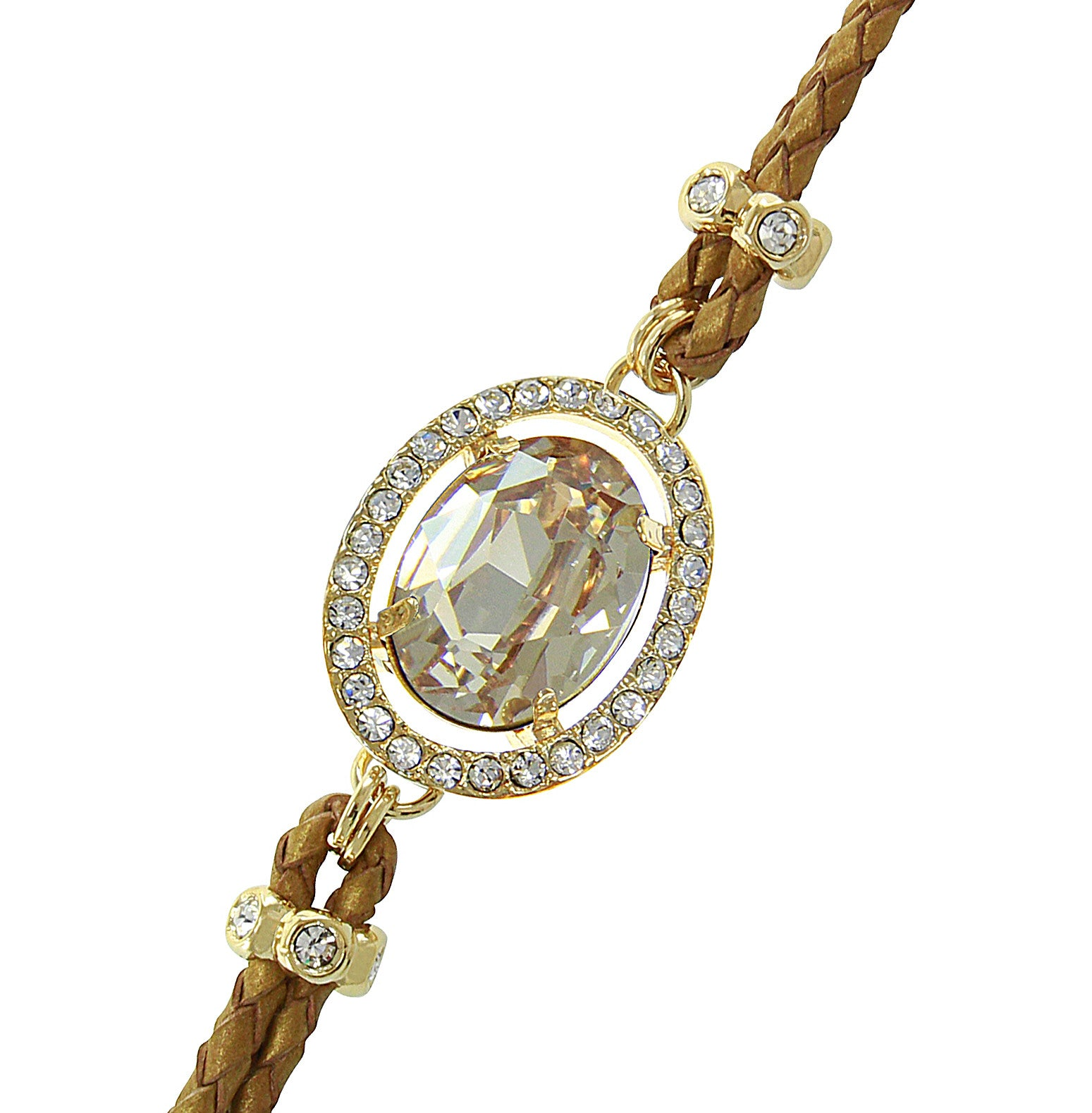 Champagne Center Crystal and Braided Genuine Leather Toggle Bracele