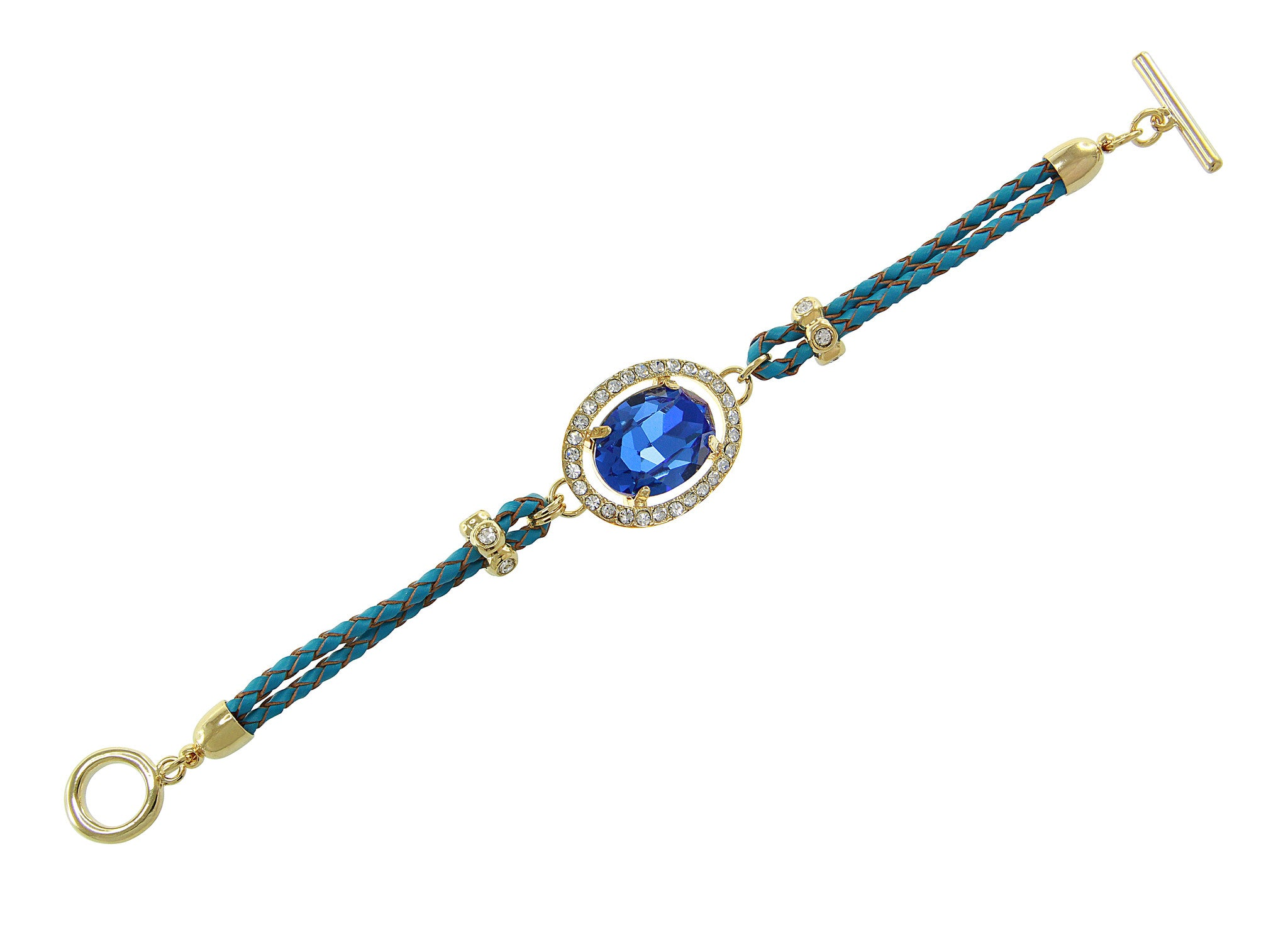 Aqua Blue Center Crystal and Braided Genuine Leather Toggle Bracele