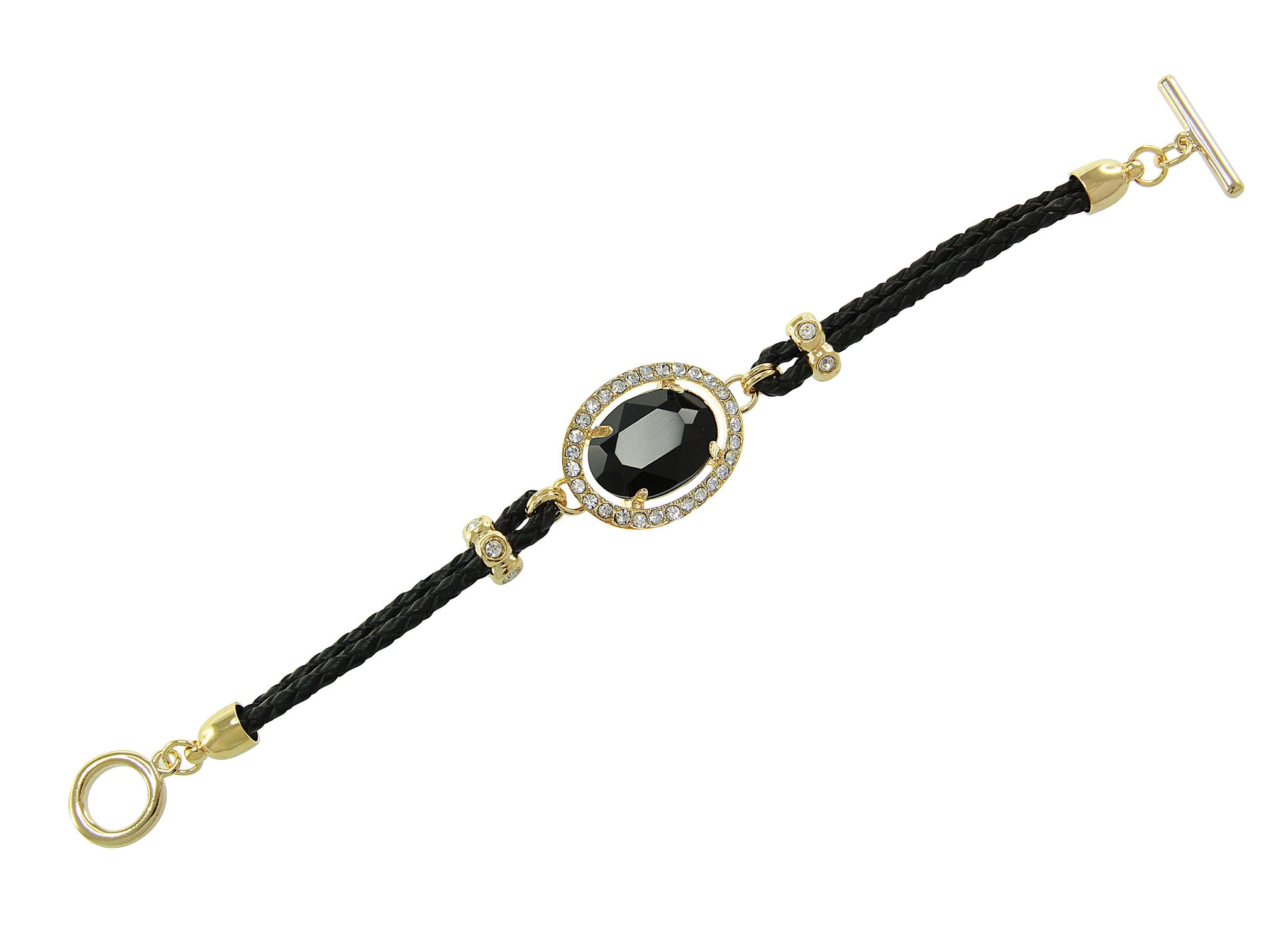 Black Center Crystal and Braided Genuine Leather Toggle Bracele