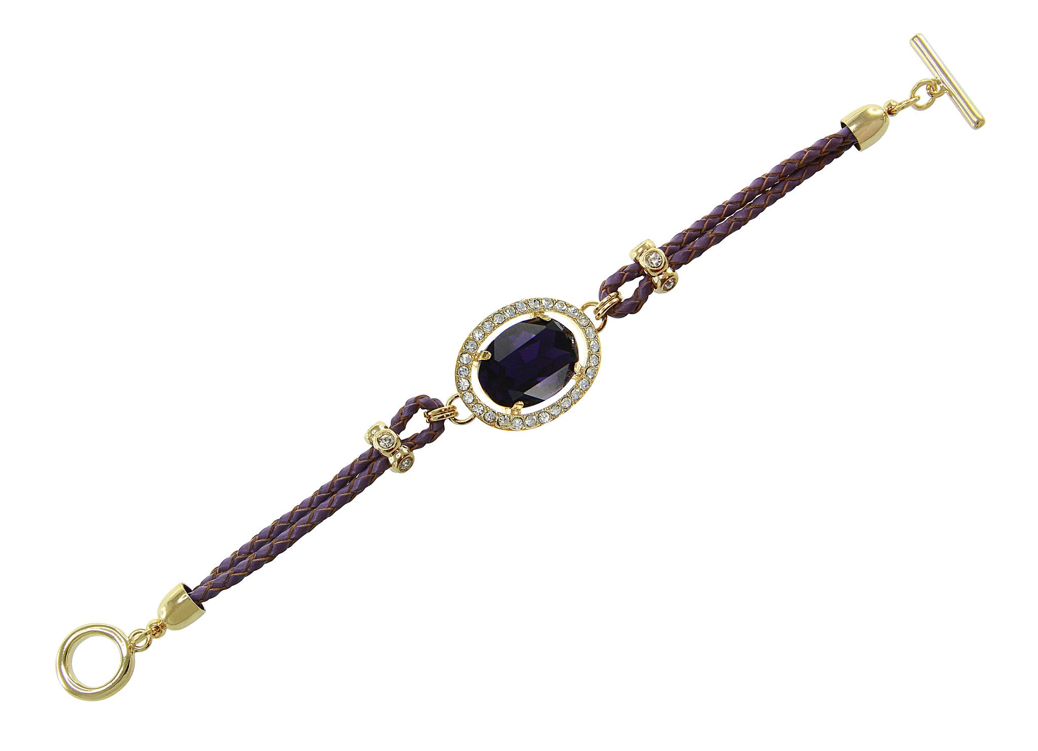 Purpel Center Crystal and Braided Genuine Leather Toggle Bracele