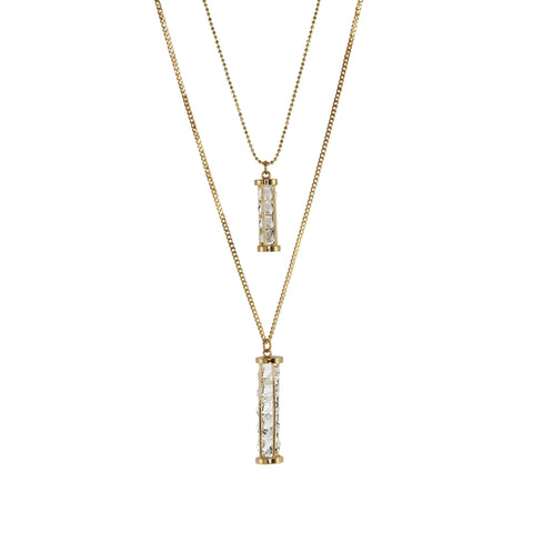 18k YG Plated, Crystal Shaken Double Cylinder Pendant Necklace