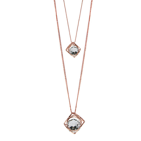 18k Rose Gold plated, Crystal Cage Double Cube Pendant Necklace