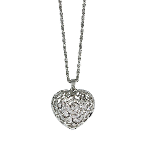 Rhodium Plated, Crystal Cage Heart Pendant Necklace