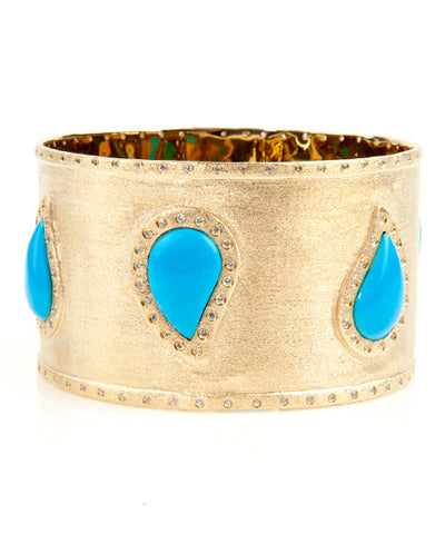 18K YG Plated, Magnesite Turquoise Cabochon and Crystal Statement Bangle