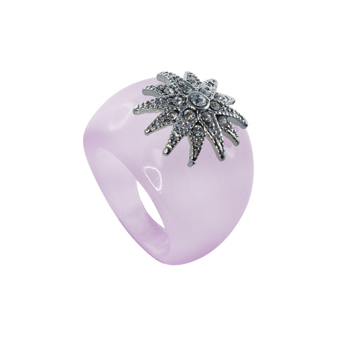 """Deco Starburst"" Lavender Ice Ring"