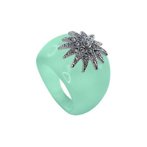 """Deco Starburst"" Mint Ice Ring"