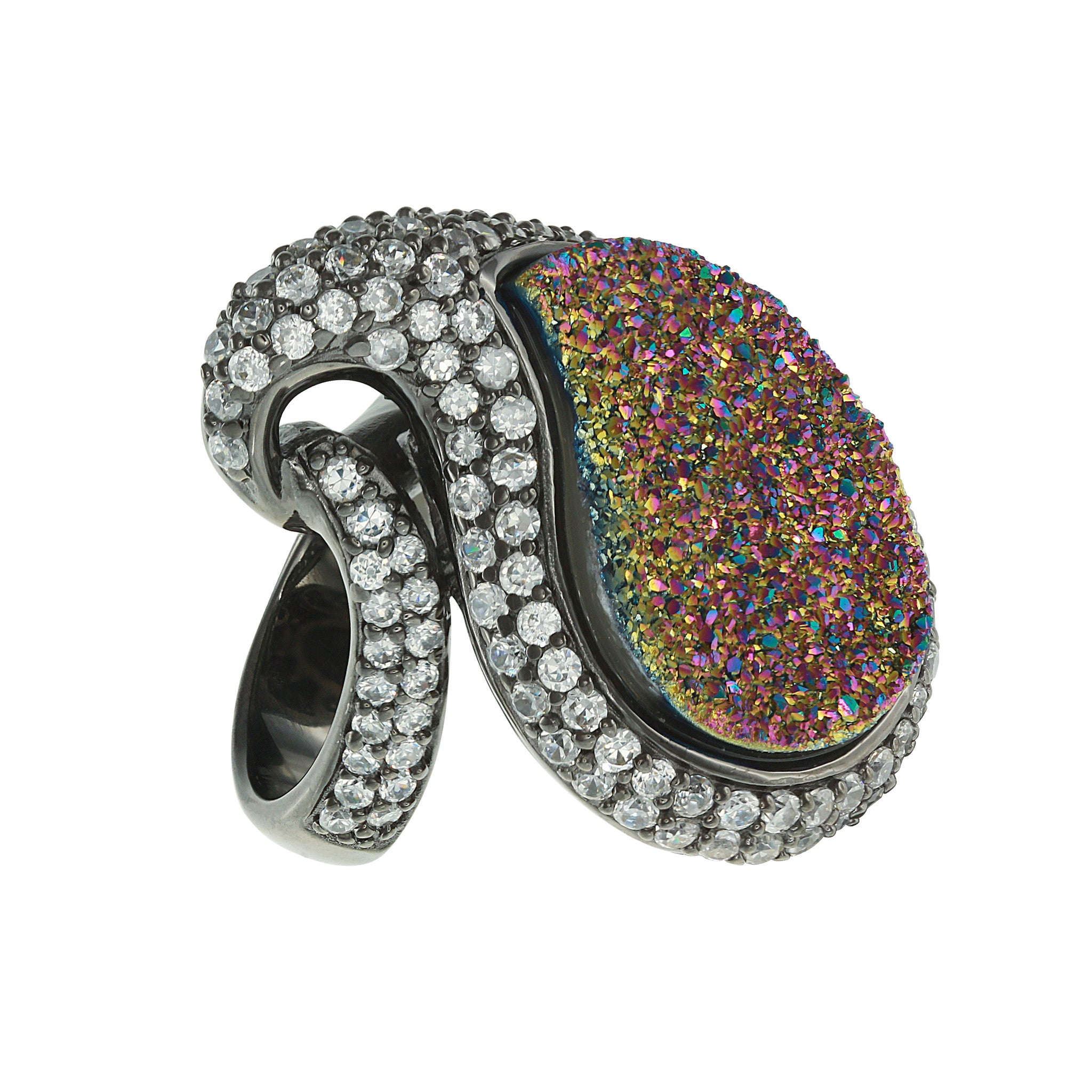 Black Rhodium Plated, Paisley Peacock Drusy and CZ Statement Ring