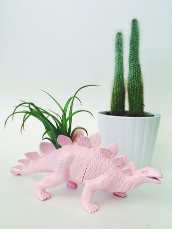 Large Pastel Pink Stegosaurus Dino Planter with Air Plant