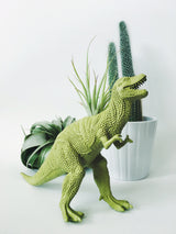 Large Chartreuse T-Rex Dinosaur Planter with Air Plant