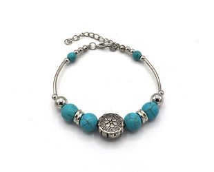 Silver Medallion and Turquoise Bead Bangle Bracelet